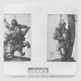 Dancing Peasants and a Bagpipe Player, 1514 Square Sticker
