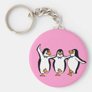 Dancing Penguins Basic Round Button Key Ring