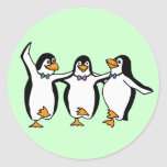Dancing Penguins Round Stickers