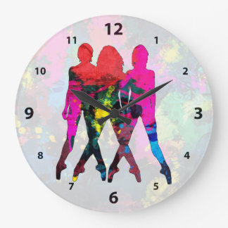 Dancing People Abstract Colors Clock