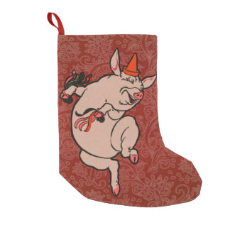 Dancing Pig Vintage Cute Dancer Small Christmas Stocking