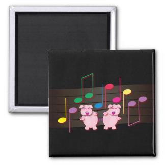 Dancing Piglets:  We love music Square Magnet