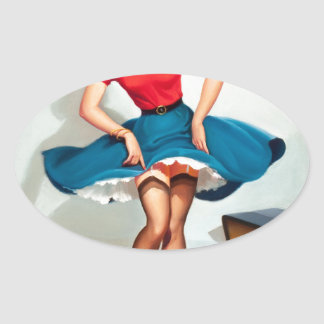 Dancing Pin-up Girl ; Vintage Pinup Art Oval Sticker
