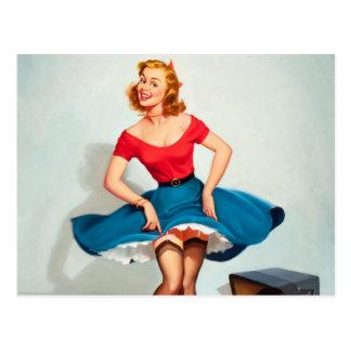 Dancing Pin-up Girl ; Vintage Pinup Art Postcard