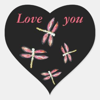 Dancing Pink Dragonfly illustration Heart Sticker