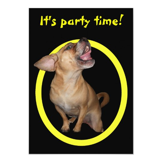 Dancing Puggle Birthday Party Card