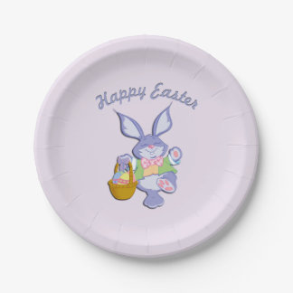 Dancing Purple Easter Bunny Lavender 7 Inch Paper Plate