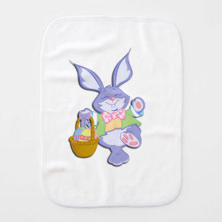 Dancing Purple Easter Bunny Lavender Burp Cloth