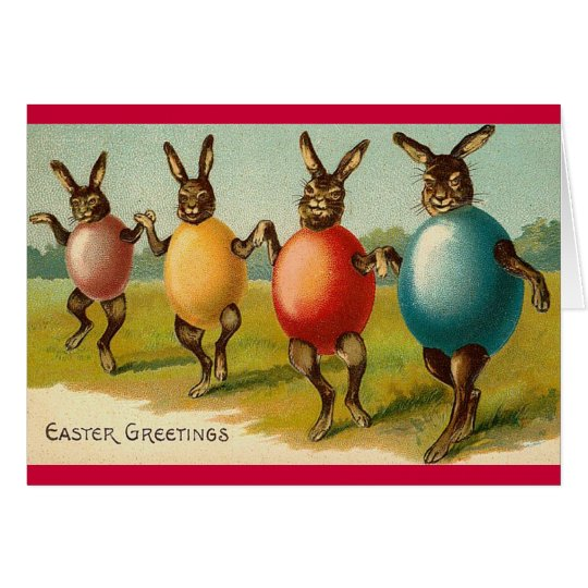 Dancing Rabbits Easter Card