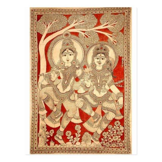 DANCING RADHA KRISHNA KALAMKARI ART OF INDIA POSTCARD