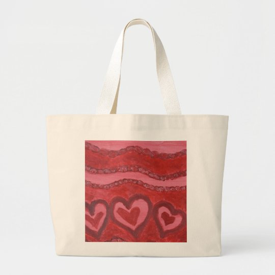 Dancing Red Hearts Large Tote Bag