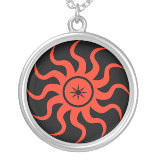 Dancing Red Sun Silver Plated Necklace