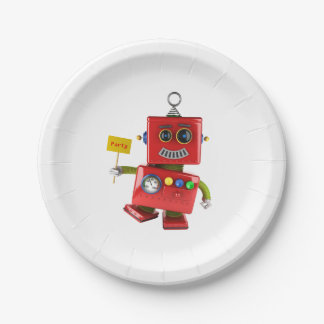 Dancing red toy robot with party sign paper plate