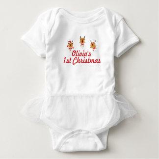Dancing Reindeer 1st First Merry Christmas Xmas Baby Bodysuit