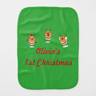 Dancing Reindeer 1st First Merry Christmas Xmas Burp Cloth