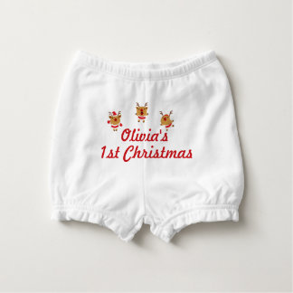 Dancing Reindeer 1st First Merry Christmas Xmas Nappy Cover