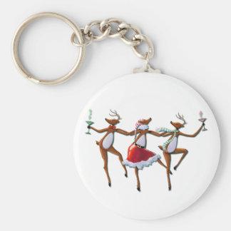 DANCING REINDEER  by SHARON SHARPE Basic Round Button Key Ring