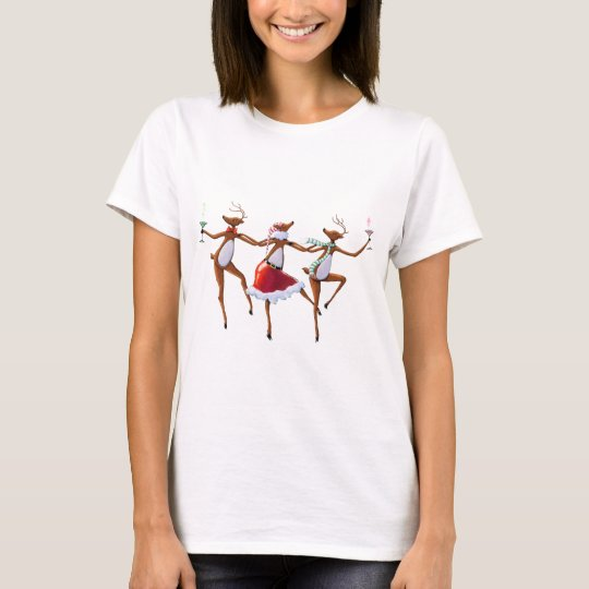 DANCING REINDEER by SHARON SHARPE T-Shirt
