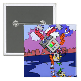 Dancing Robot Square Badge for party favors