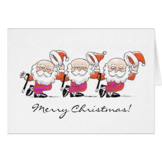 Dancing Santas note card