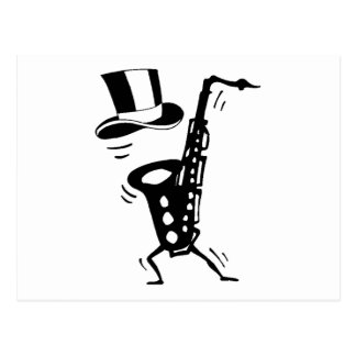 Dancing Saxophone Postcard