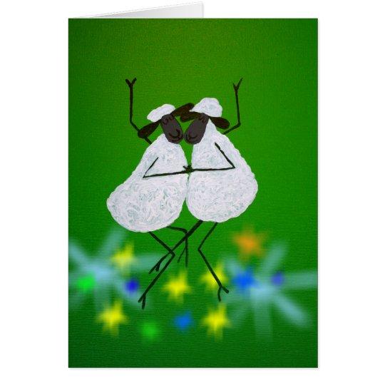 Dancing Sheep Greeting Card