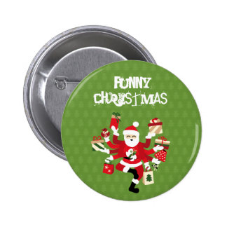 Dancing Shiva Claus - Spruce Forest 6 Cm Round Badge