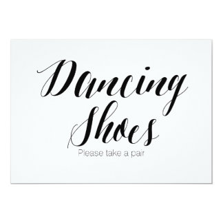 """Dancing Shoes Please take a pair"" Wedding Sign Card"