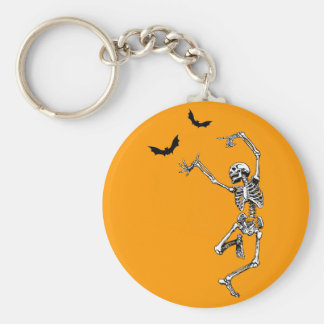 Dancing Skeleton Basic Round Button Key Ring