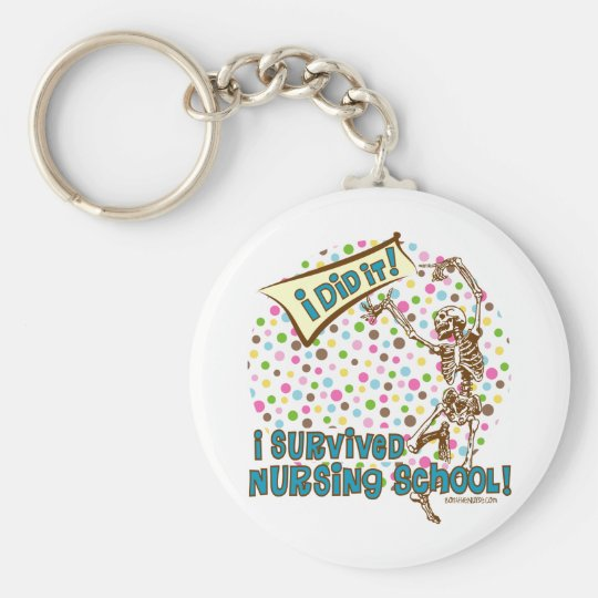 Dancing Skeleton Nursing School Survivor Basic Round Button Key Ring