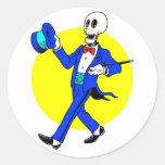 Dancing Skeleton Round Sticker