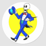 Dancing Skeleton Round Stickers