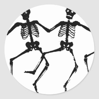 Dancing Skeletons Classic Round Sticker