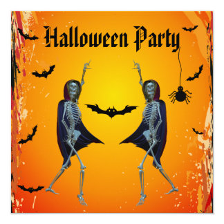 Dancing Skeletons Halloween Party 13 Cm X 13 Cm Square Invitation Card