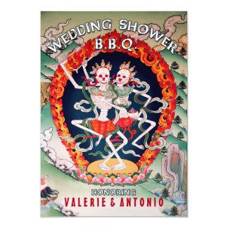 "Dancing Skeletons Wedding Shower BBQ Invitations 5"" X 7"" Invitation Card"