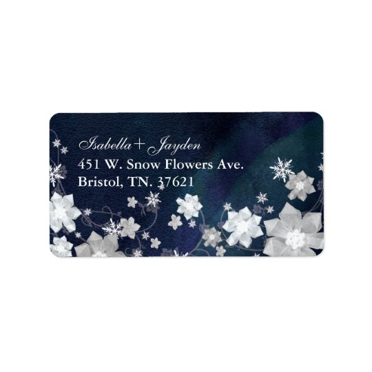 Dancing Snow Flowers Winter Wedding Address Labels