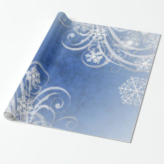 Dancing Snowflakes Blue Holiday Wrapping Paper