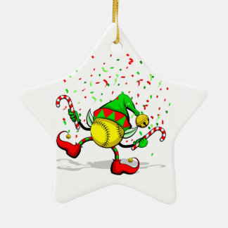 Dancing Softball Christmas Elf Christmas Ornament