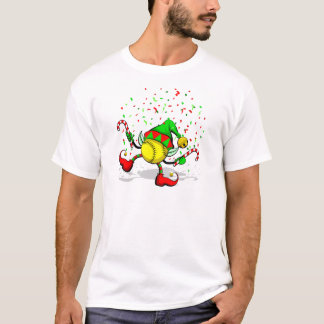Dancing Softball Christmas Elf T-Shirt