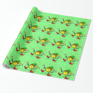 Dancing Softball Christmas Elf Wrapping Paper