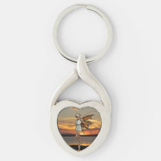 Dancing Sprite Silver-Colored Heart-Shaped Metal Keychain