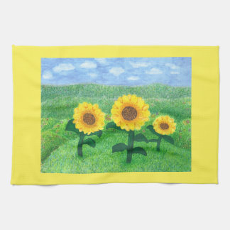 Dancing Sunflowers Kitchen Towel Yellow