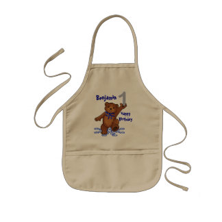 Dancing Teddy Bear 1st Birthday for Boy Kids' Apron