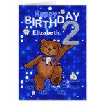 Dancing Teddy Bear 2nd Birthday for Girl Greeting Card