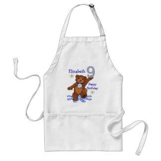Dancing Teddy Bear 9th Birthday for Girl Adult Apron