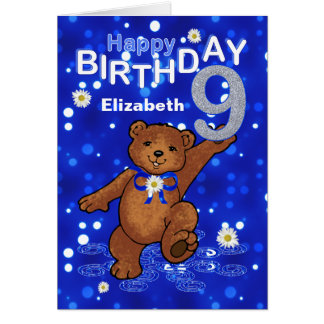 Dancing Teddy Bear 9th Birthday for Girl Card