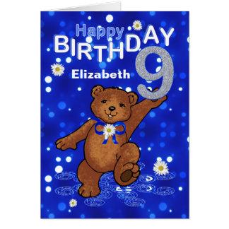 Dancing Teddy Bear 9th Birthday for Girl Greeting Card