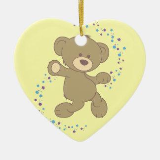Dancing Teddy Bear Ceramic Heart Decoration