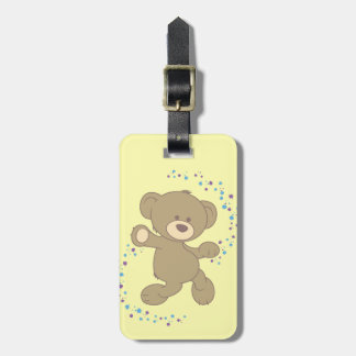 Dancing Teddy Bear Personalised Luggage Tag