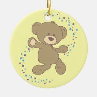 Dancing Teddy Bear Round Ceramic Decoration